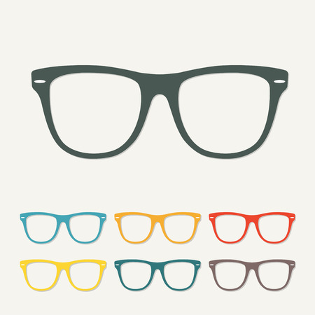 Glasses icon in flat style. Colorful vector illustration. Ilustração