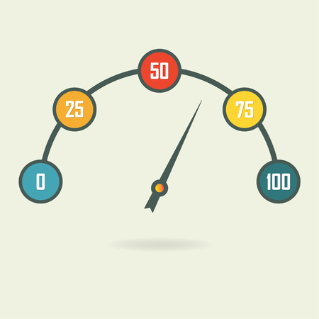 Speedometer icon or sign with arrow. Info graphic gauge element. Colorful vector illustration.