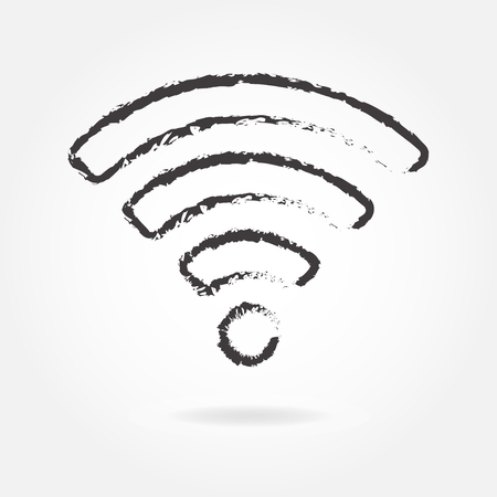 Wireless and wifi icon or sign for remote internet access. Podcast vector symbol in hand drawn style.