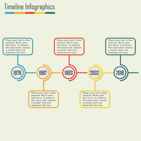 chronology: Timeline Infographics template with space for text. Isolated design elements. Colorful vector illustration.