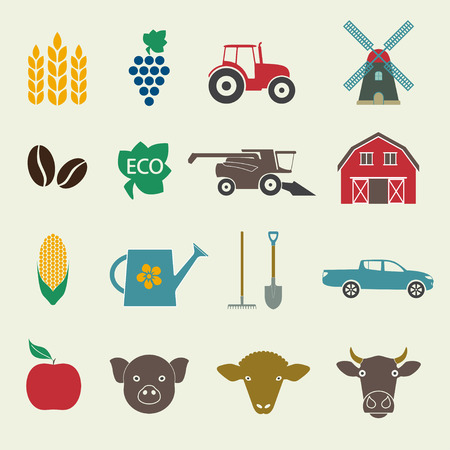 harvesting rice: Agriculture and farming icon set. Colorful icons in flat style. Vector illustration.