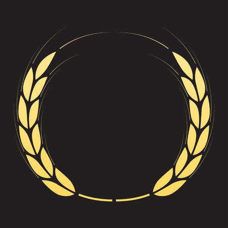 Laurel wreath isolated on black background. Vector illustration.