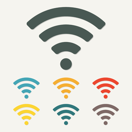 Wireless and wifi icon or sign for remote internet access. Podcast symbol. Colorful vector illustration.