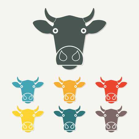 Cow or calf head icon. Agriculture and farming concept. Colorful vector illustration.