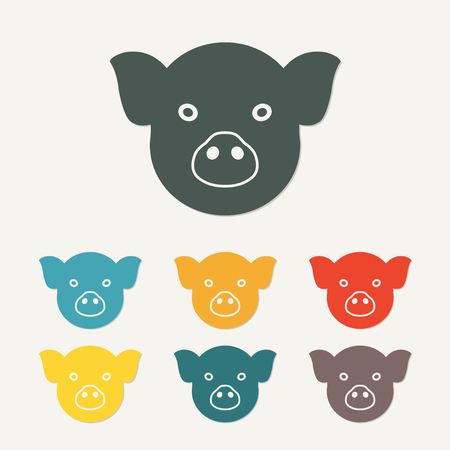 Pig head or face icon. Agriculture and farming concept. Colorful vector illustration.