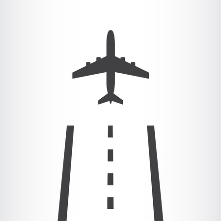 away travel: Airplane takes off from a runway icon isolated on white background. Plane is landing away from airport. Vector illustration.