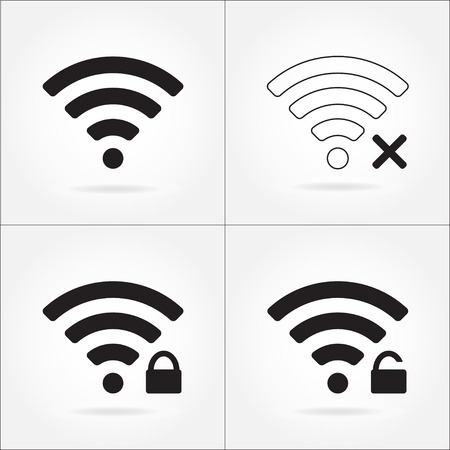 remote lock: Wireless and wifi icon set for remote internet access. Podcast vector symbol.