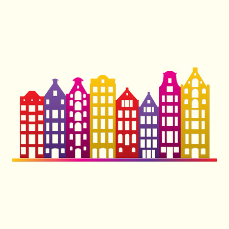 Buildings in old European style. City houses set. Urban landscape symbol. Colorful and bright vector illustration. Illustration