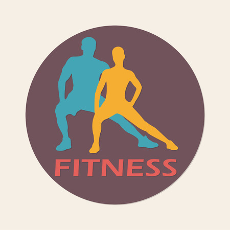 Fitness symbol or label with muscled man and woman silhouettes. Vector illustration.