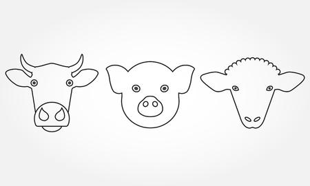 농장 동물 개요 아이콘을 설정합니다. 암소, 돼지 및 양 머리 또는 얼굴 기호 흰색 배경에 고립. 벡터 일러스트 레이 션.