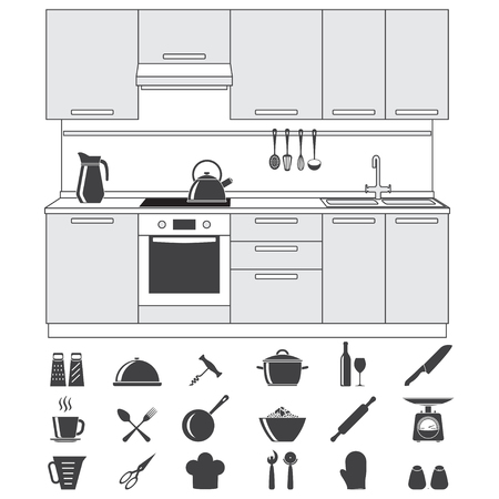 wares: Kitchen and cooking icons set and Kitchen interior, isolated on white background. Vector illustration.