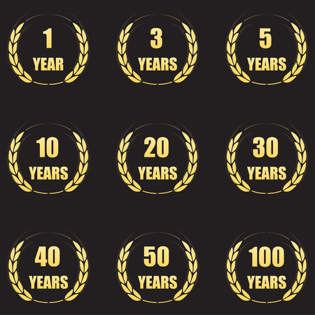 tenth birthday: Anniversary laurel wreath icon set. Gold anniversary symbols isolated on black background. 1,3,5,10,20,30,40,50,100 years. Template for congratulation design. Vector illustration. Illustration