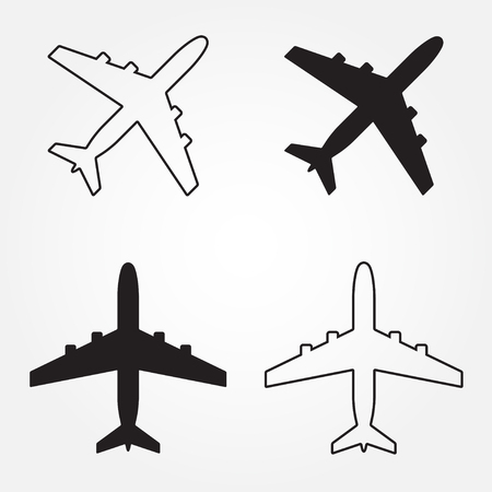 Airplane icons set. Vector aircraft silhouette or sign isolated on white.