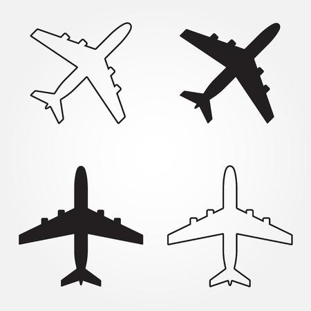 Vliegtuig iconen instellen. Vector vliegtuig silhouet of teken geïsoleerd op wit. Stock Illustratie