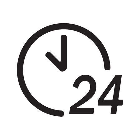 24 hours a day icon or sign isolated on white background. Round the clock support symbol. Vector illustration.