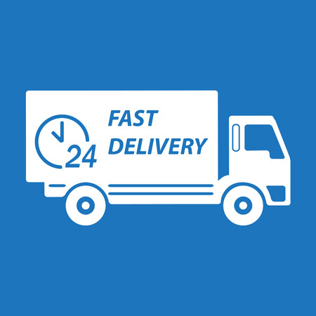 moving truck: Fast delivery truck. White on blue background. Transportation icon or sign. Vector illustration.