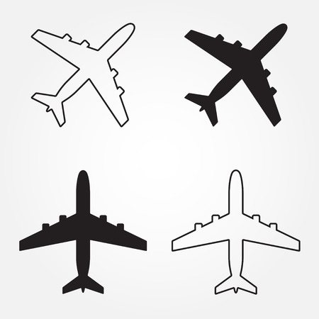 fuselage: Airplane icons set. Vector aircraft silhouette or sign isolated on white.