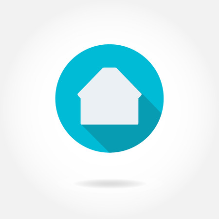 House Icon or sign on turquoise circle background. Vector silhouette. Design element for real estate.