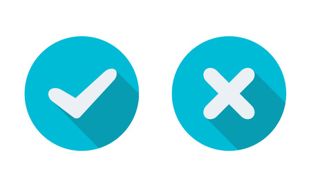 Yes and No check marks on circles. Vector illustration. Element for infographic design. Illustration
