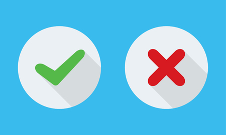 Yes and No check marks on circles. Vector illustration.