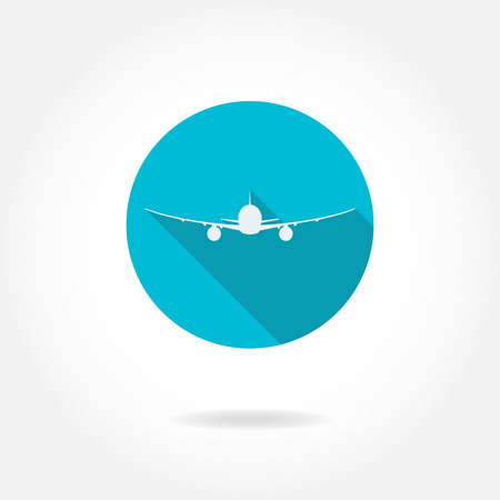 fuselage: Airplane silhouette icon or sign isolated on white in circle. Vector illustration. Illustration