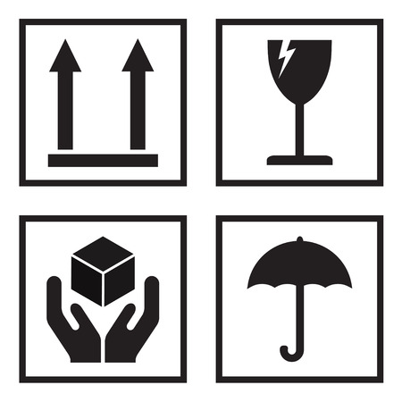 Fragile or packaging symbols. Black fragility signs on white background. Vector illustration.