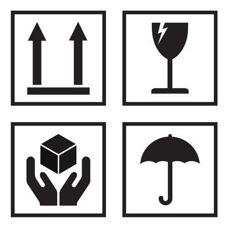 Fragile or packaging symbols. Black fragility signs on white background. Vector illustration.