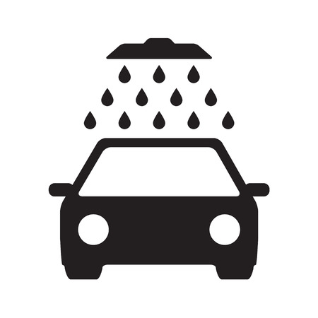 Car wash icon or sign with shower and water drops. Black vehicle isolated on white background. Vector illustration.