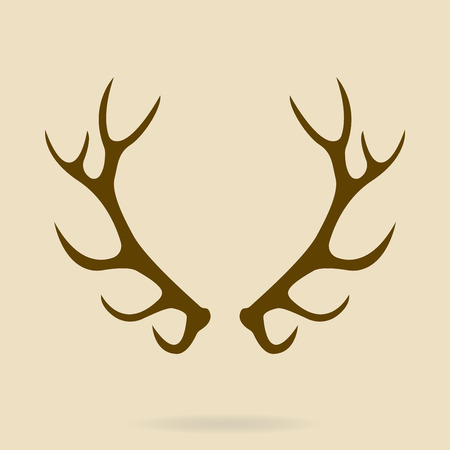 Deer antlers. Horns icon. Vector silhouette. Illustration
