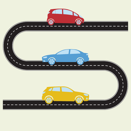 Road with cars. Vector illustration of winding road and colorful vehicles. Transportation and traffic infographics template.