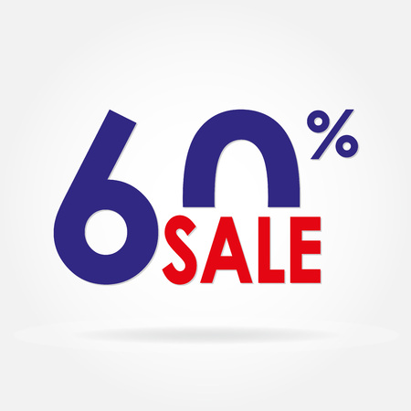 low price: Sale of 60% and discount price sign or icon. Sales design template. Shopping and low price symbol. Colorful vector illustration. Illustration