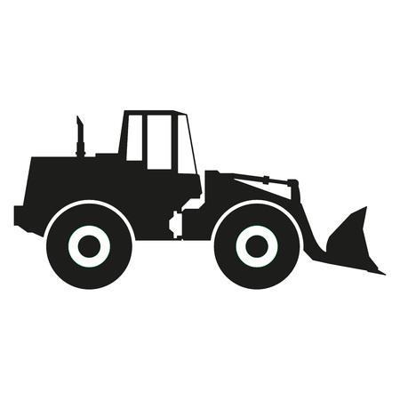トラクターのアイコンは、白い背景で隔離。トラクター生シルエット。ベクトルの図。  イラスト・ベクター素材