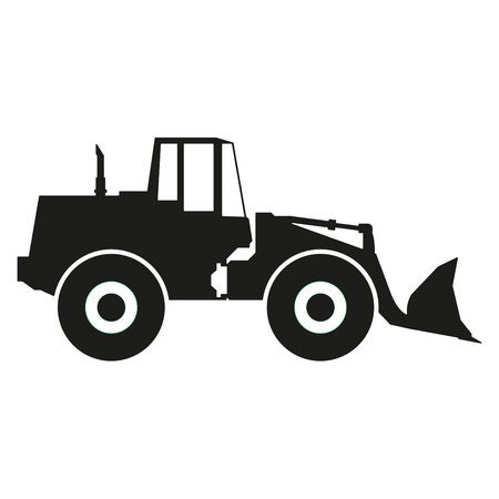 earthmover: Tractor icon isolated on white background. Tractor grader silhouette. Vector illustration.