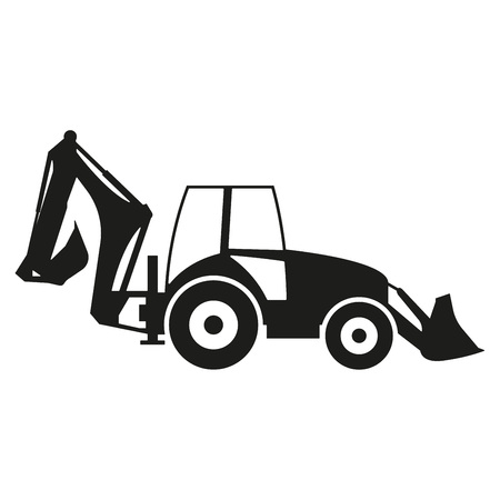 Tractor icon isolated on white background. Tractor grader silhouette. Vector illustration.