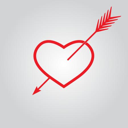 ide: Heart with arrow. Vector icon.