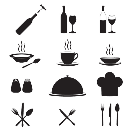 Restaurant and kitchen icons with wine bottle, cup, fork, spoon, knife. Vector illustration.