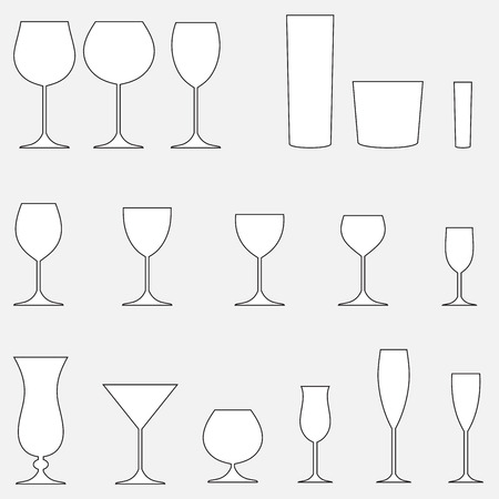 collins: Glass set. Stemware for a different drinks. Vector silhouettes. Illustration