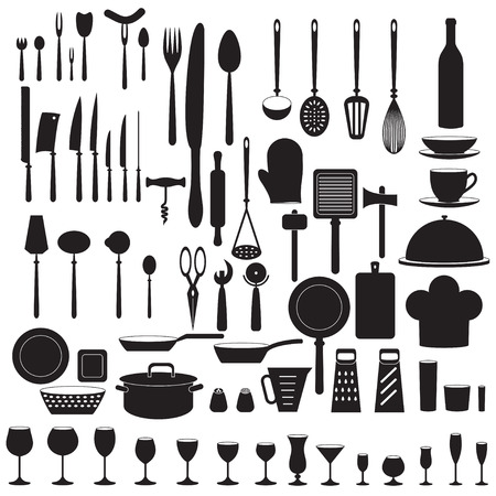 house ware: Kitchen tool icons set. Vector. Illustration