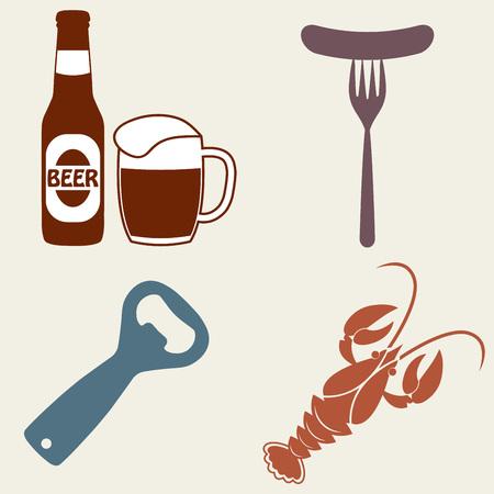Beer icons set. Beer bottle, mug, opener, crawfish. Vector symbols and design elements for restaurant, pub or cafe. Illustration