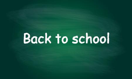 school class: Back to school written on blackboard with chalk. Vector background.