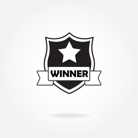 Award icon or sign. Winner shield. Vector illustration. Illustration