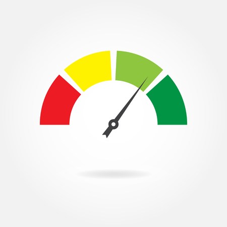 Speedometer icon or sign with arrow, colorful Infographic gauge element vector illustration.
