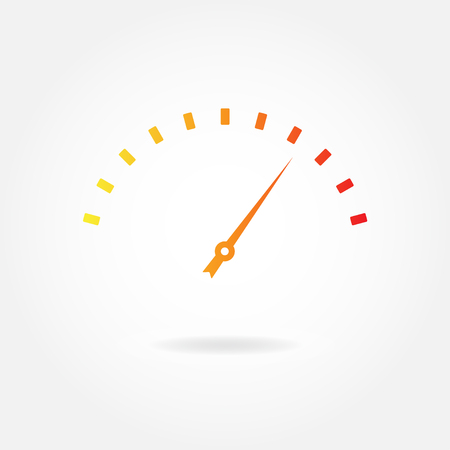 dash: Speedometer icon or sign with arrow. Infographic gauge element. Vector illustration.