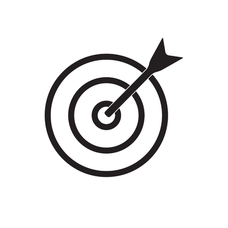 Target with arrow icon or sign. Vector aim illustration.