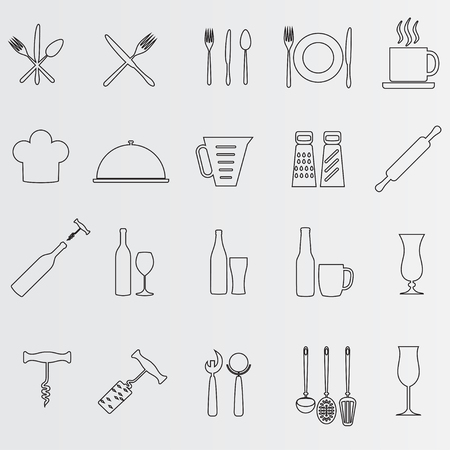 Cooking icon set. Vector outline illustration. Food and drink design elements. Illustration