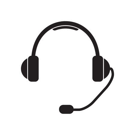 Headphone for support or service. Support Icon or sign: headphones with microphone.