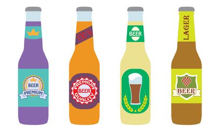 Beer bottles set with label icon. Illustration