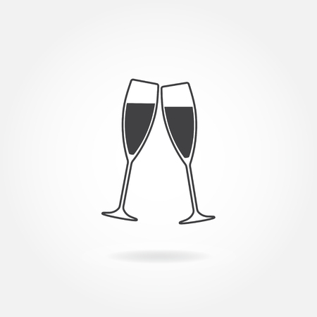 good friends: Two glasses of champagne or wine. Cheers icon or sign. Vector illustration.