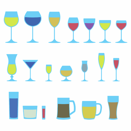 champagne celebration: Glassware icon set. Colorful stemware for a different drinks. Beer glass, Wine glass and Cups isolated on white background. Vector illustration.