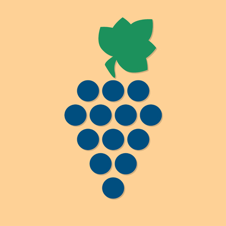 Grape icon or sign. Design element for winemaking, viticulture, wine house. Colorful vector illustration in a flat style.